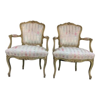 Vintage French Arm Chairs - A Pair For Sale