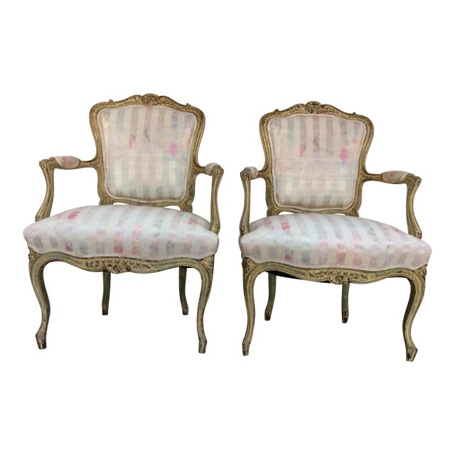 Vintage French Arm Chairs - A Pair - Image 1 of 8