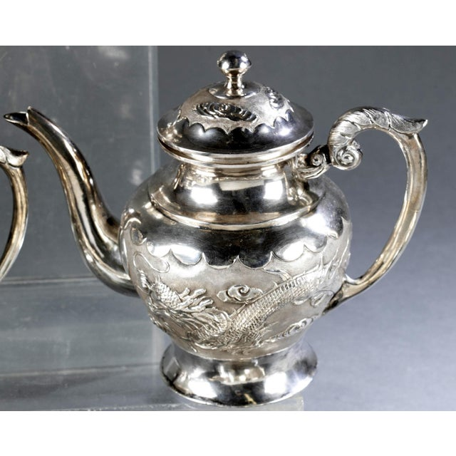 Chinese Chinese Export Sterling Silver Tea Set with Dragon Design Tianjing Wuhua - 13 Pieces For Sale - Image 3 of 13