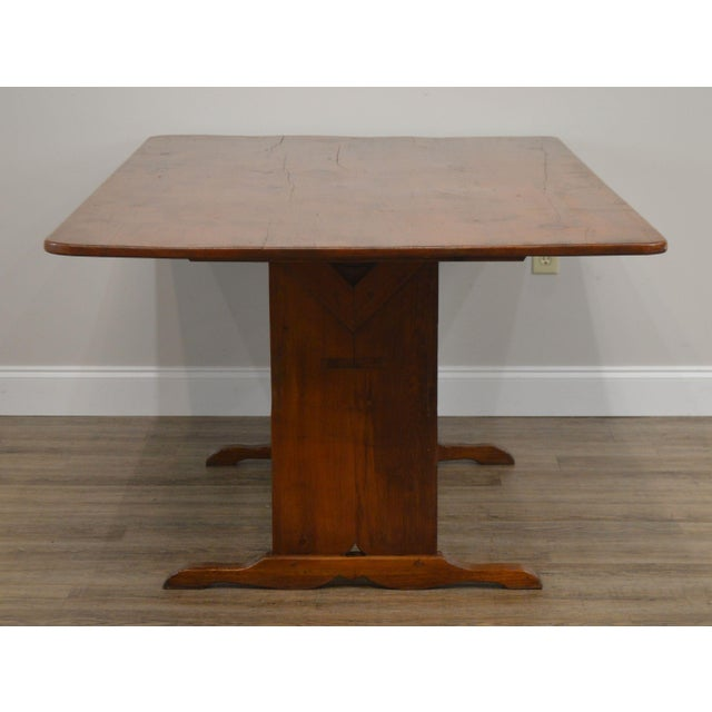 1970s Farmhouse Pine Trestle Base Tilt Top Dining Table For Sale - Image 5 of 13