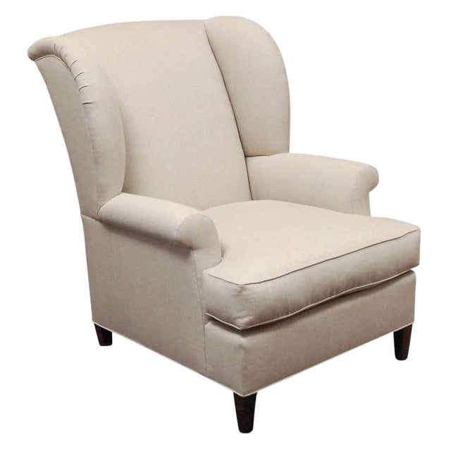 """Worrell"" by Lee Stanton English Wing Chair in Belgian Linen or Custom Fabric For Sale"