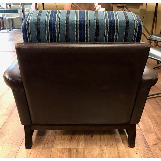 Mid 20th Century Mid Century Leather Chair With Striped Canvas For Sale - Image 5 of 9