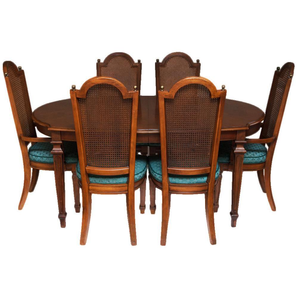 C. 1960s Vintage Hepplewhite Dining Table U0026 Chairs  7 Pieces