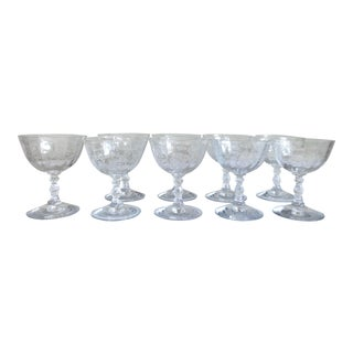 1930s Needlepoint Etched Classical Bouquet Coupe Glasses - Set of 9 For Sale