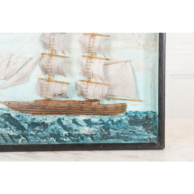 A brilliant English 19th century nautically themed diorama featuring a brig. These three-dimensional works of art were...