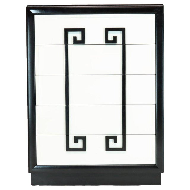 Kittinger Mandarin Style Chest Dresser Black and White Lacquer Five Drawers For Sale - Image 11 of 11