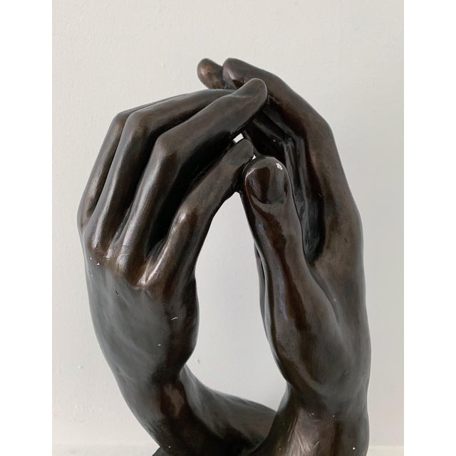 "Austin Productions 1960s Vintage Austin Productions Rodin ""The Cathedral"" Hands Sculpture For Sale - Image 4 of 7"
