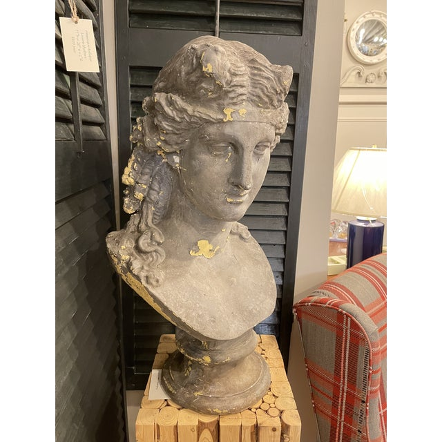 This is a Vintage Continental Classical Revival Bust. It is made of Zinc Fiber and was hand painted. It is distressed with...