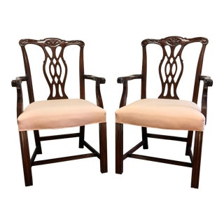 Fancher Solid Mahogany Chippendale Straight Leg Dining Captain's Arm Chairs - Pair For Sale