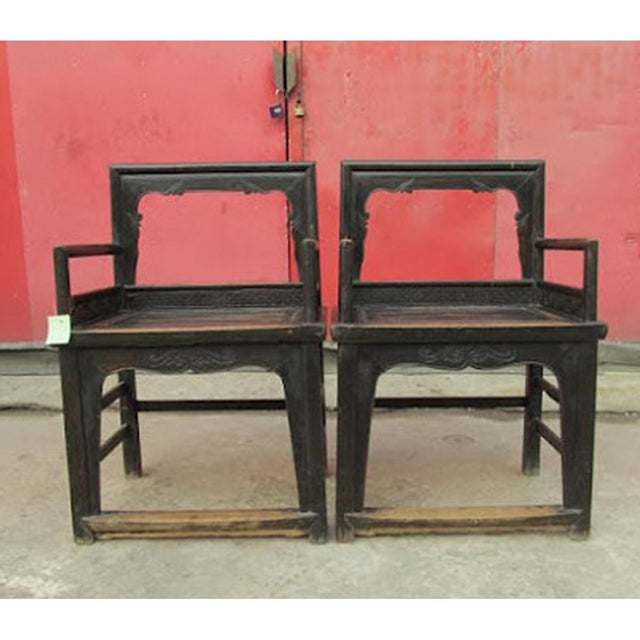 Vintage Carved Wood Arm Chairs - a Pair - Image 2 of 2