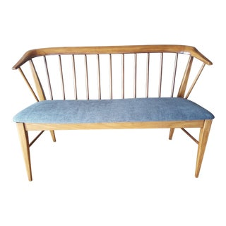 Mid-Century Modern Spindle Upholstered Bench For Sale