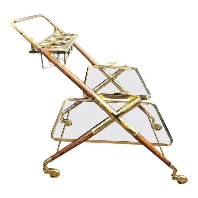 Mid-Century Modern Bar Cart, Teak and Brass For Sale