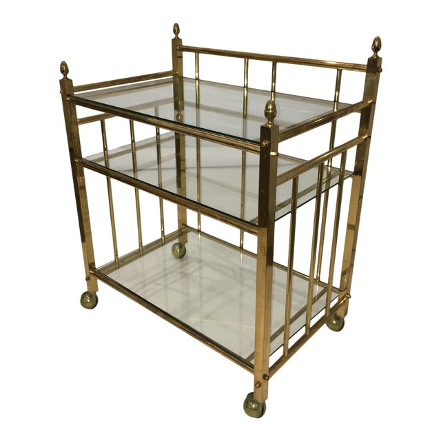 Three-Tier Brass and Glass Bar Cart, Tea Trolley &/or Service Cart - Image 1 of 6