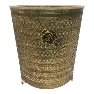 Hollywood Regency Gold Rose Waste Basket For Sale