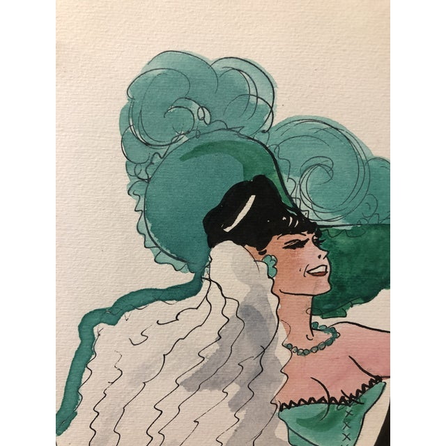 1950s 1950s Can Can Dancer, Painted in Paris by Alice Huertas For Sale - Image 5 of 6