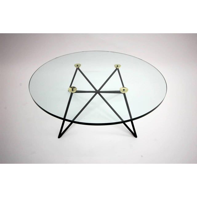 Iron and Brass Glass Top Coffee Table For Sale - Image 4 of 6
