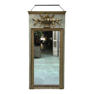 A North Italian Gilt Wood and French Olive Painted Trumeau Mirror, 18th Century For Sale