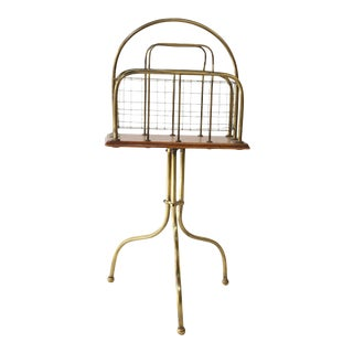Antique Brass and Wood Magazine Holder For Sale