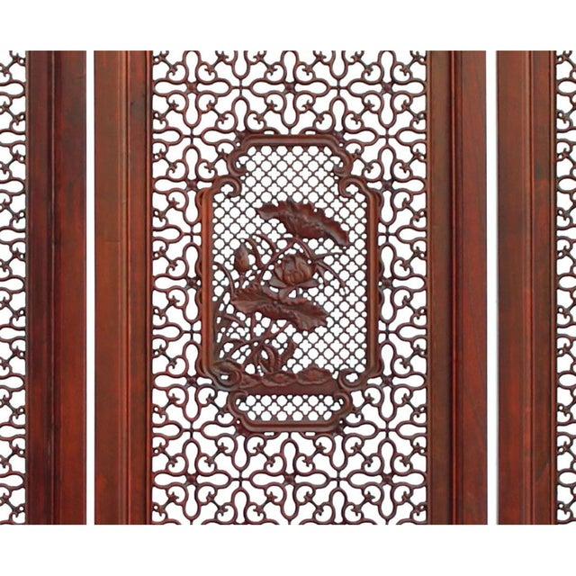 Wood Chinese Reddish Brown Stain 4 Seasons Flower Wood Panel Floor Screen For Sale - Image 7 of 13