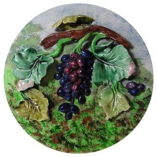 19th Century Antique Majolica Grapes Decorative Plate For Sale