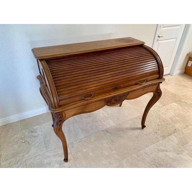 French Antique French Walnut Tambour Top Desk For Sale - Image 3 of 13