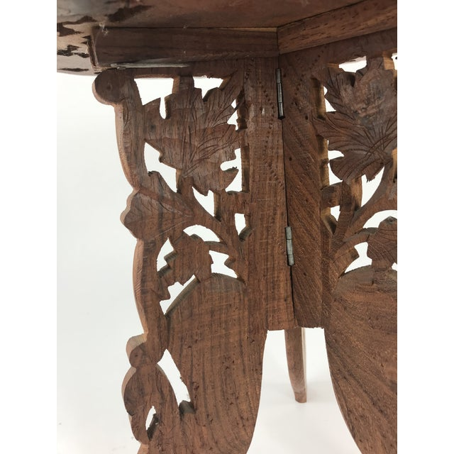 1980s 1980s Anglo-Indian Hand Carved Wood Plant Stand Table For Sale - Image 5 of 8