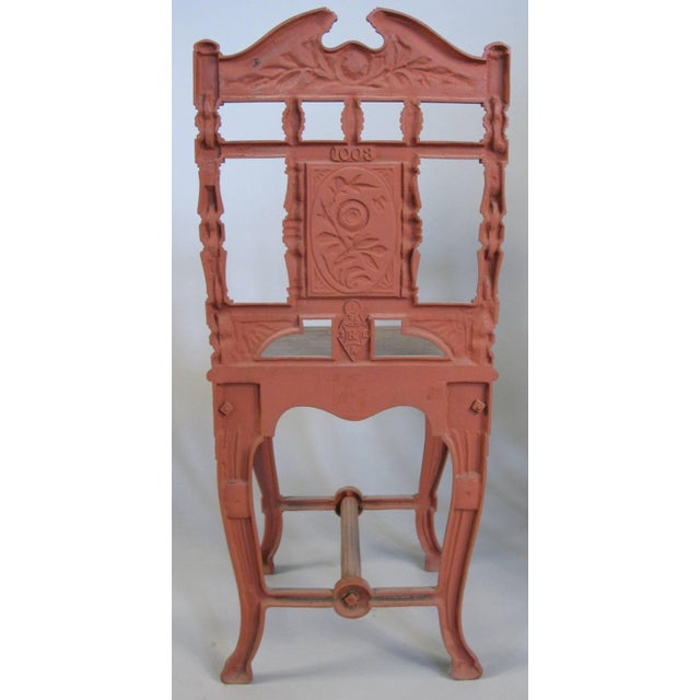 Red Pair of 19th Century English Cast Iron Chairs For Sale - Image 8 of 9
