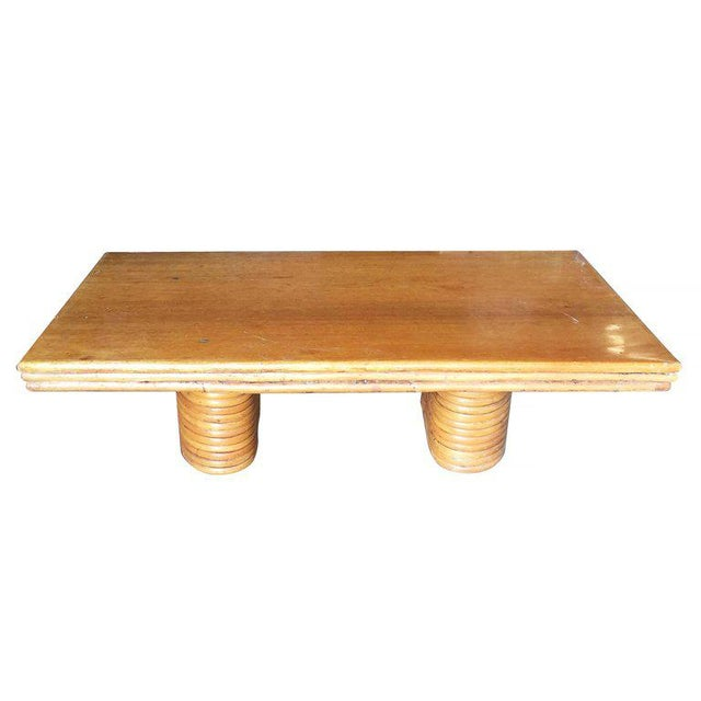 Mid-Century Modern Restored Large Rectangle Rattan Coffee Table With Mahogany Top and Stacked Base For Sale - Image 3 of 4