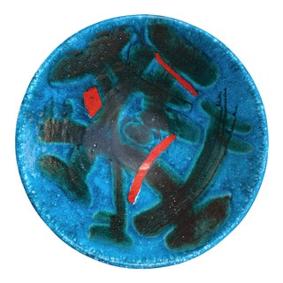 Ceramic Display Bowl by Guido Gambone in Stunning Peacock Blue For Sale