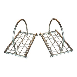 Brass Bamboo Cupholders for Bar Cart - a Pair For Sale