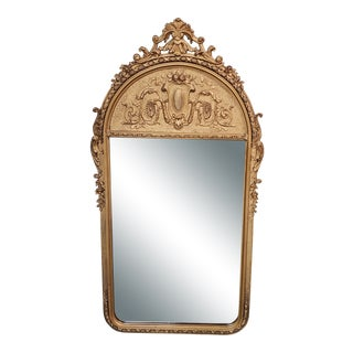 Late 19th Century French Napoleon III Style Gilt Gesso Frame Beveled Glass Arched Pier Mirror For Sale