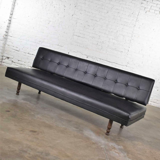 Universal Furniture Vintage Mid Century Modern Black Vinyl Faux Leather Convertible Sofa by Universal of High Point For Sale - Image 4 of 13