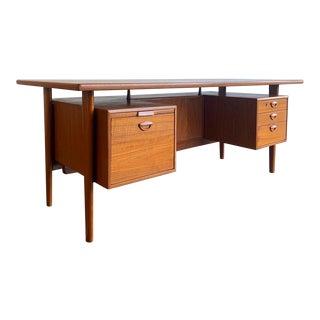 Danish Modern Teak Executive Floating Top Desk by Kai Kristiansen For Sale