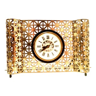 Mid-20th Century American Art Deco Gilt Brass Electrical Clock By, Bilt Rite For Sale