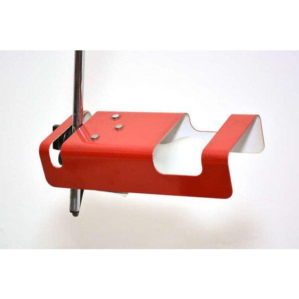 For your consideration a vintage table/desk lamp by Joe Colombo. Red shade with chrome plated steel hardware.