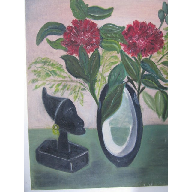 Mid-Century Still Life Painting With Flowers - Image 7 of 8