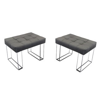 Infinity Style Velvet Gray Lucite Benches - A Pair