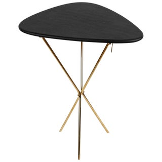 Mid-Century Modern Carl Auböck Model #3642 Brass and Leather Side Table For Sale