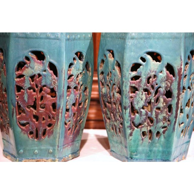 Early 20th Century Asian Green Porcelain Garden Stools - A Pair - Image 6 of 7