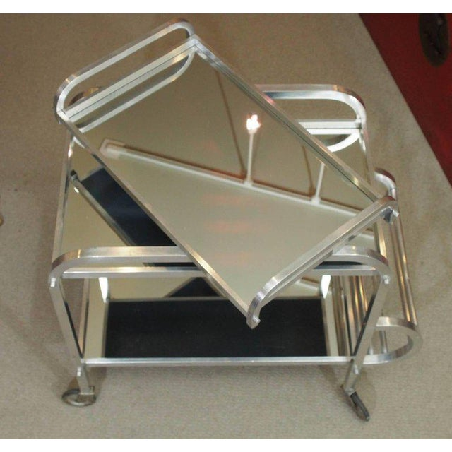 French Art Deco Aluminum Drinks Trolley with Removable Tray-Style of Adnet - Image 7 of 8