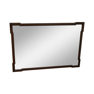 Henredon Mid Century Asian Inspired Walnut Frame Wall Mirror For Sale