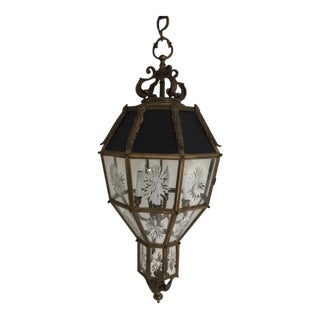 1930s Large Hanging Antique Octagon Style Lantern For Sale