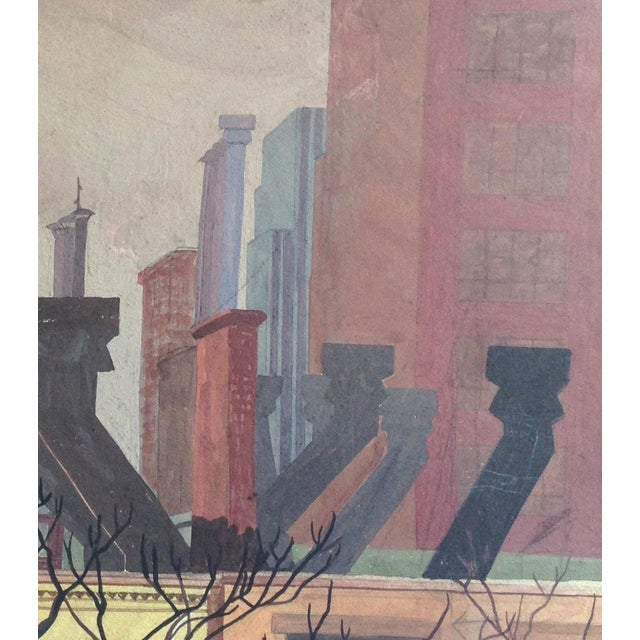 1950s Original Mid-Century Rooftops Painting For Sale - Image 5 of 8