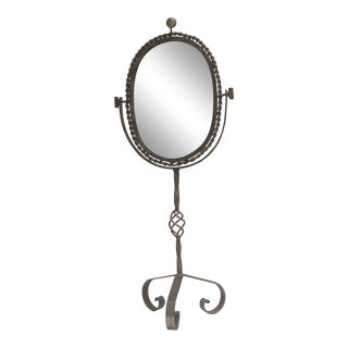 Late 19th Century Antique French Polished Steel Tripod Table Mirror For Sale
