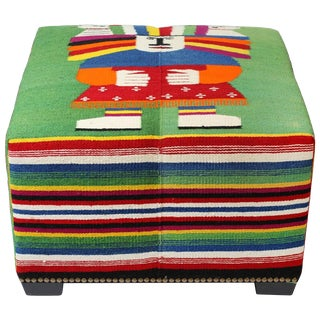 Vintage Wool Mexican Blanket Custom Ottoman For Sale
