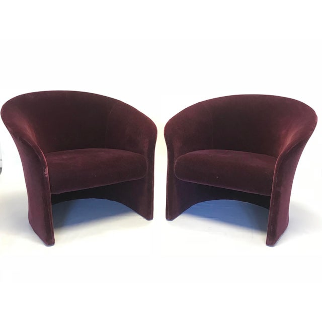 Dark plum, jewel tone, mohair club lounge chairs designed by Massimo & Lella Vignelli for Sunar (distributed by Knoll)....