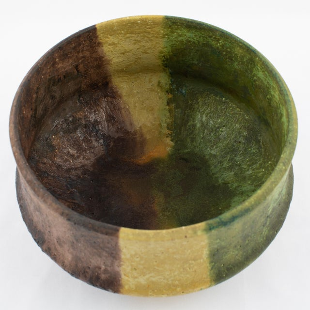 Red Marcello Fantoni Yellow, Green and Burgundy Ceramic Bowl, Circa 1970s For Sale - Image 8 of 13