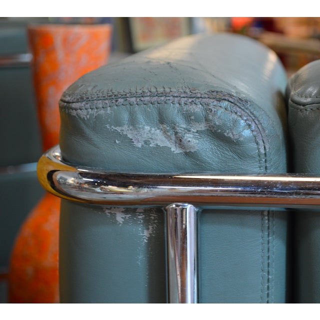 Turquoise Mid-Century Modern Chrome and Teal Leather Love Seat and Club Chair - 2 Pieces For Sale - Image 8 of 9