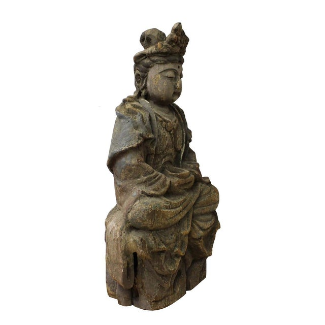 Asian Chinese Rustic Wood Sitting Kwan Yin Statue For Sale - Image 3 of 6