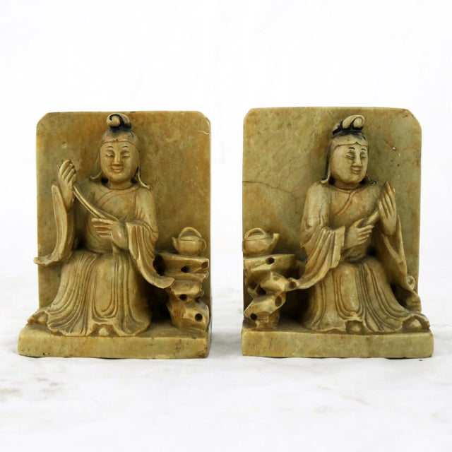 Antique Carved Soapstone Bookends With Chinese Figures and Teapot Detail For Sale - Image 13 of 13